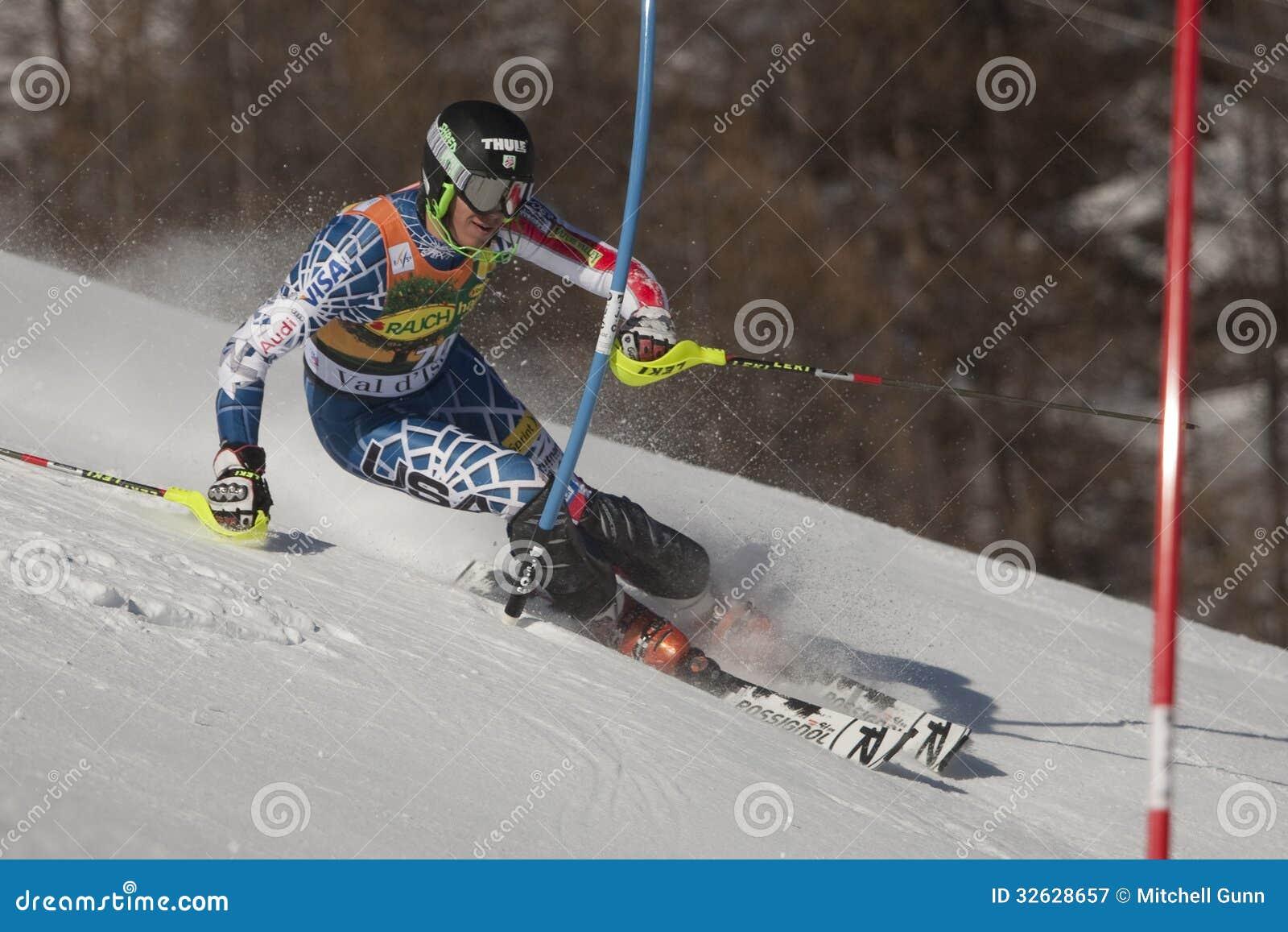 fra :高山滑雪val d isere人的障碍滑雪 图库摄影片