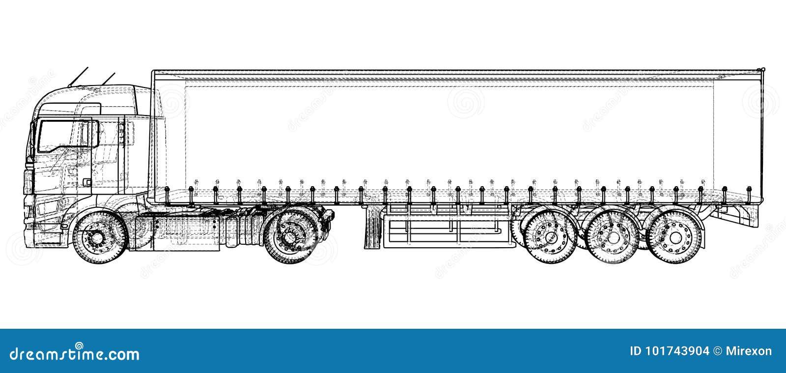 Fracht-LKW-Anhänger Abstrakte Zeichnung Draht-Rahmen Format EPS10 ...