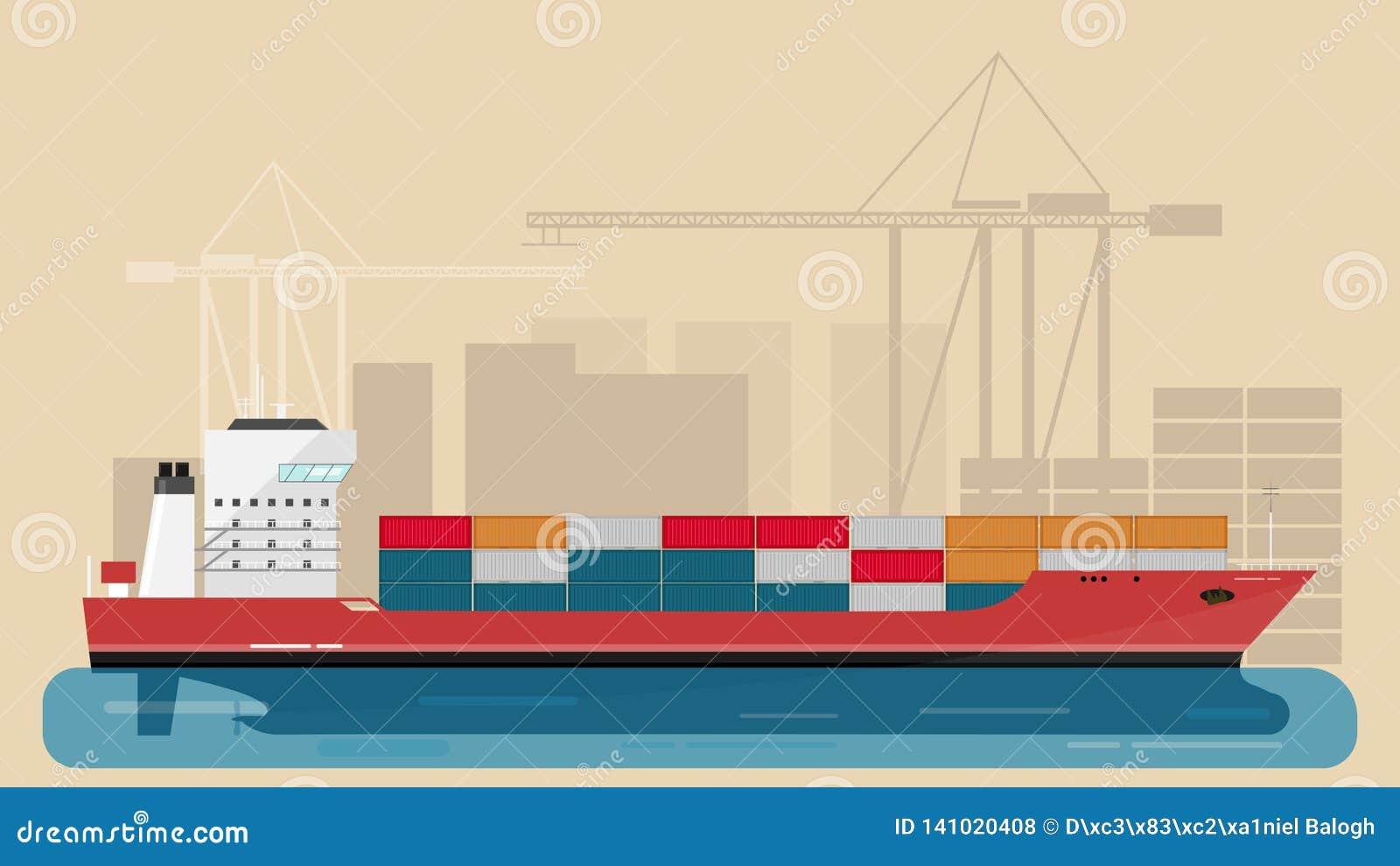 Fracht-Seehafen mit Fracht-Fracht-Schiff und Portkräne und Stadt-Elemente beherbergten Auch im corel abgehobenen Betrag