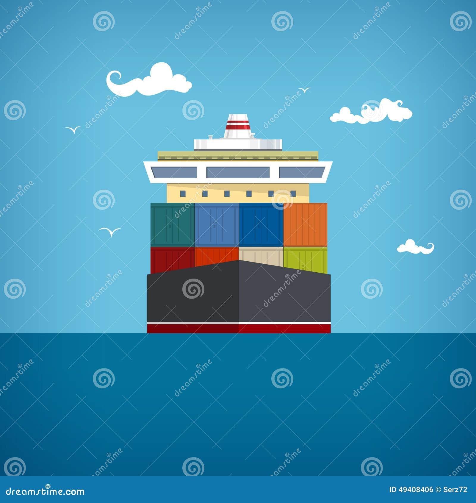 Download Frachtcontainerschiff, Vektorillustration Vektor Abbildung - Illustration von lieferung, behälter: 49408406