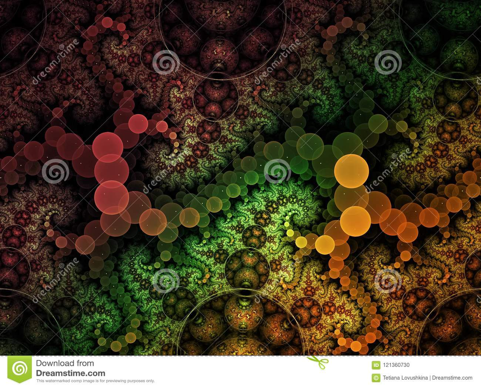 Fractal αφηρημένος υπερφυσικός σπειροειδής λεπτός κύστεων μπουκλών σχεδίων παράγει artisticbubble