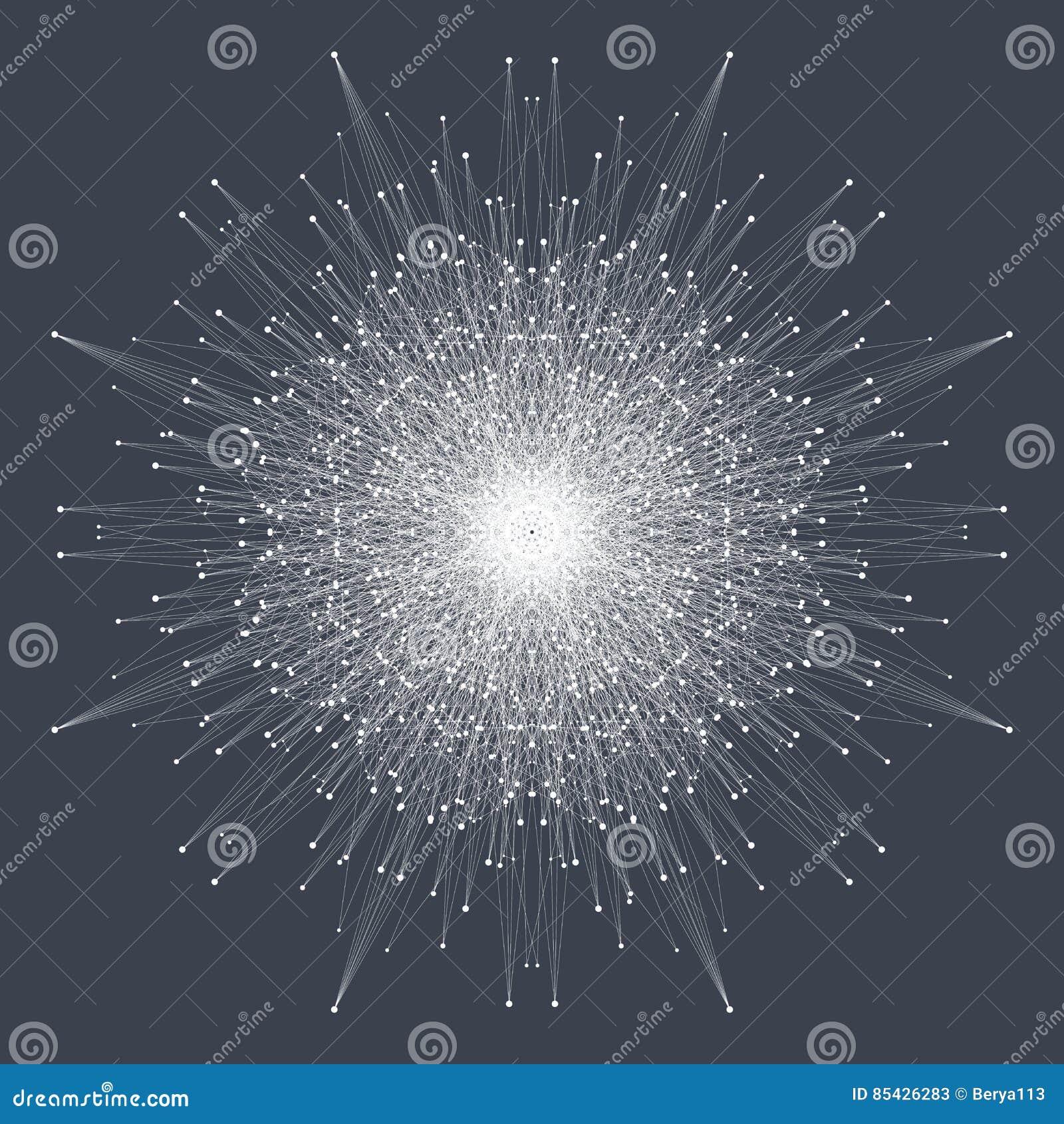 Fractal στοιχείο με τις συνδεδεμένα γραμμές και τα σημεία Μεγάλα στοιχεία σύνθετα ανασκόπηση εικονική