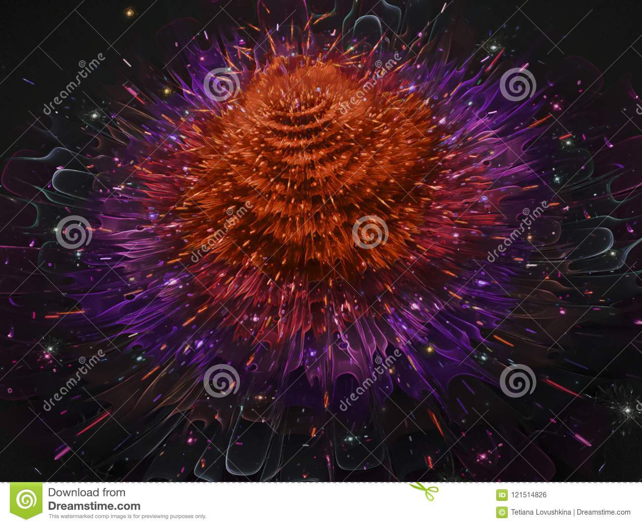 Fractal abstract futuristic, flower elegant design, bloom ornament graphic magic digital render design decorative