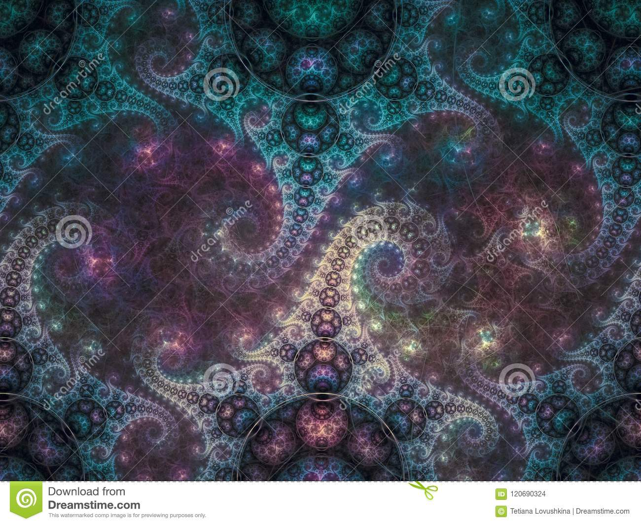 Fractal abstract unique colorful pattern digital dream modern creative background idea decoration magic