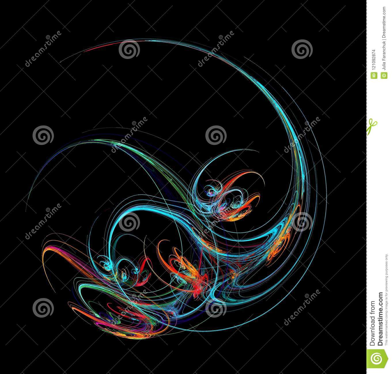 Fractal Abstraction A Glowing Spiral Figure A Symbol Of Energy