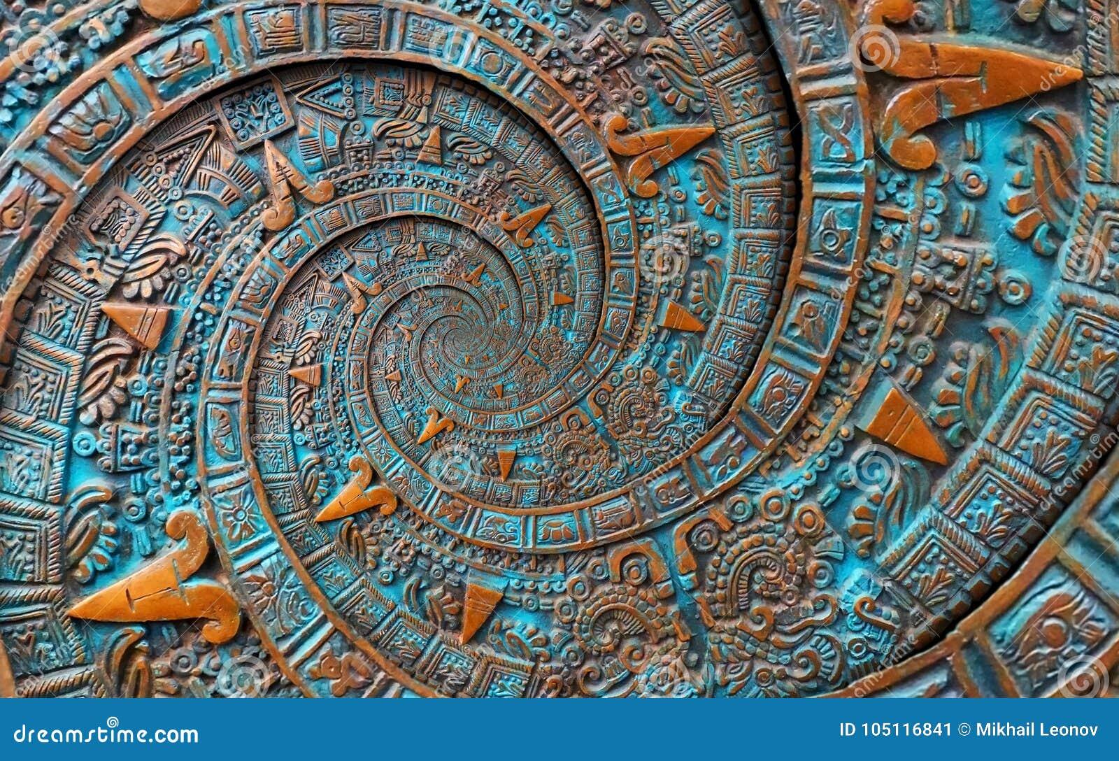 Fractal extranjero de la textura del extracto del fondo del ornamento del modelo del diseño azteca espiral doble clásico antiguo
