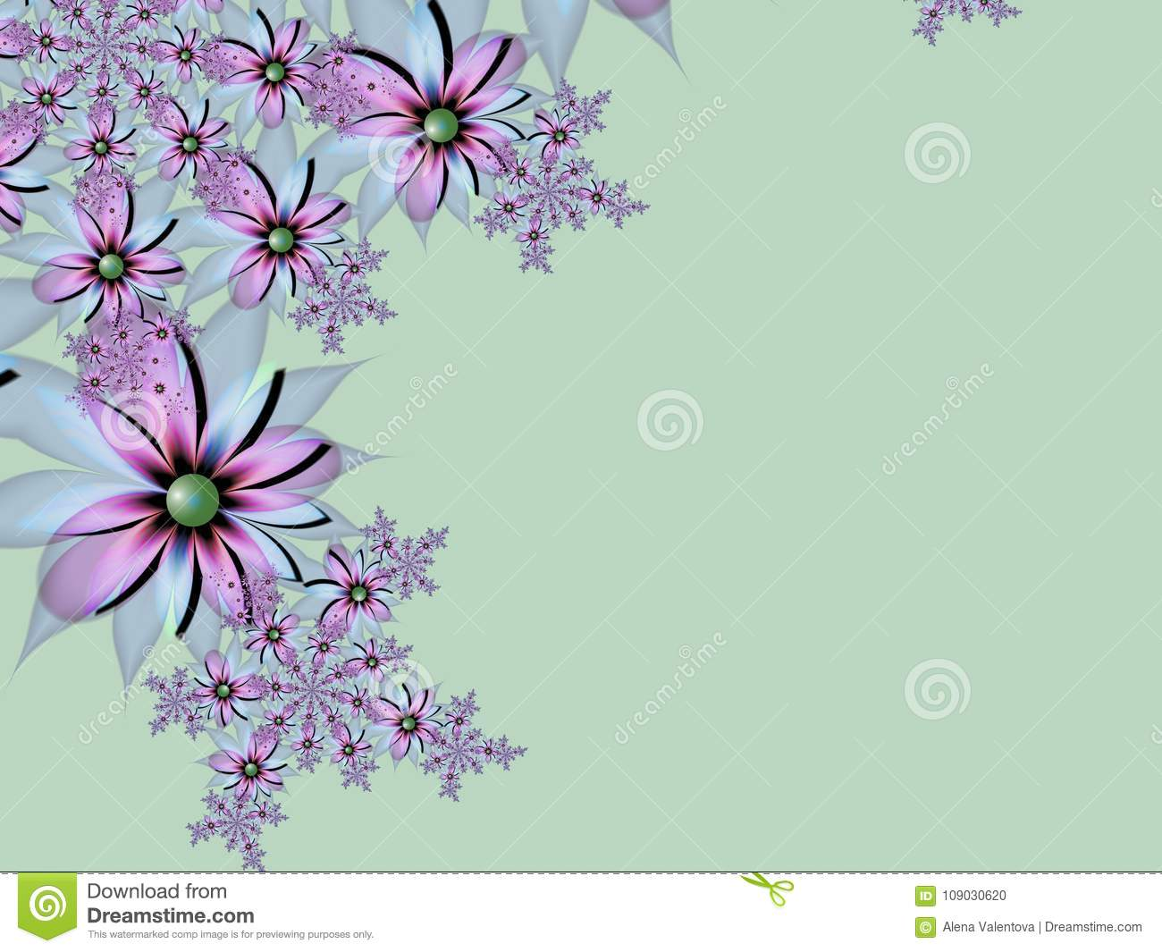 Fractal Image With Flowers. For Your Text. Green Color. Stock ...