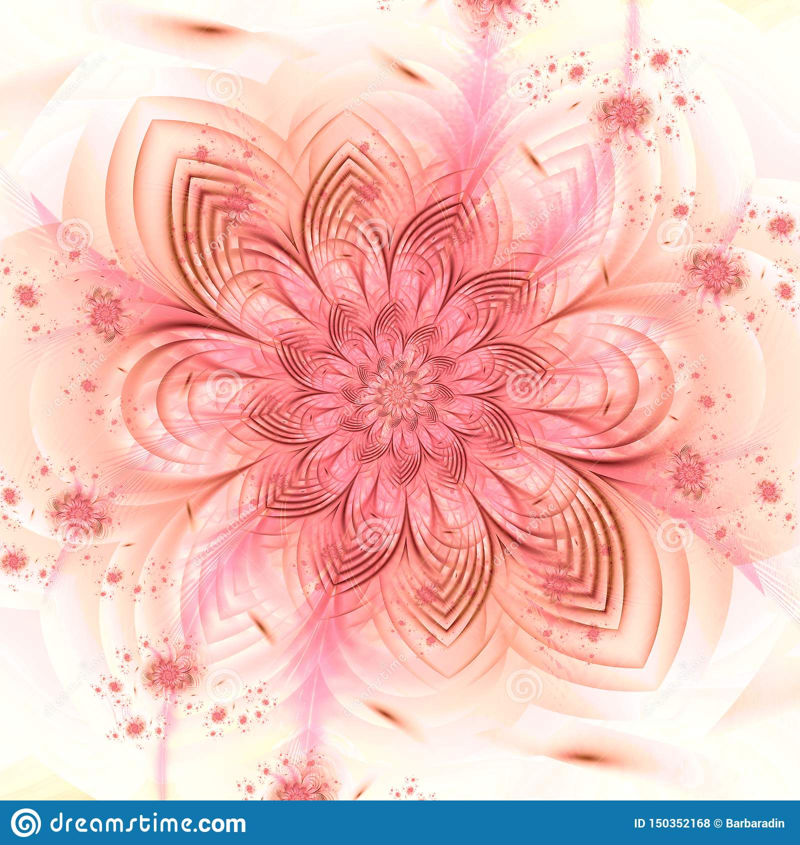 Delicate floral fractal pattern illustration