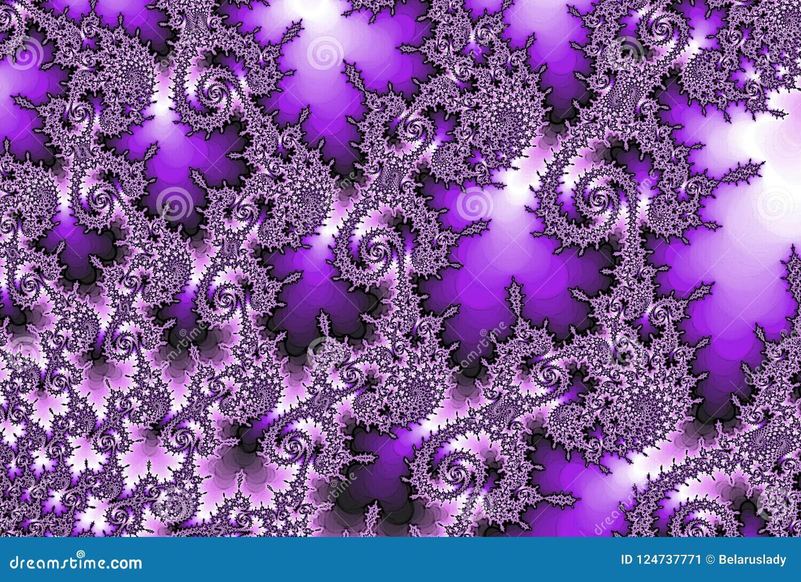 Elegant Fractal Purple Flower Abstract Background Wallpaper Stock