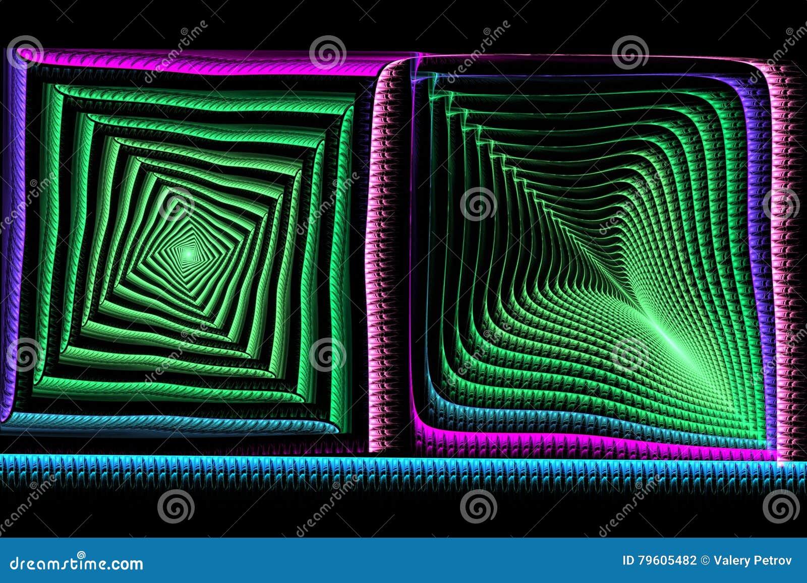 Fractal quadrado abstrato azul e verde no preto