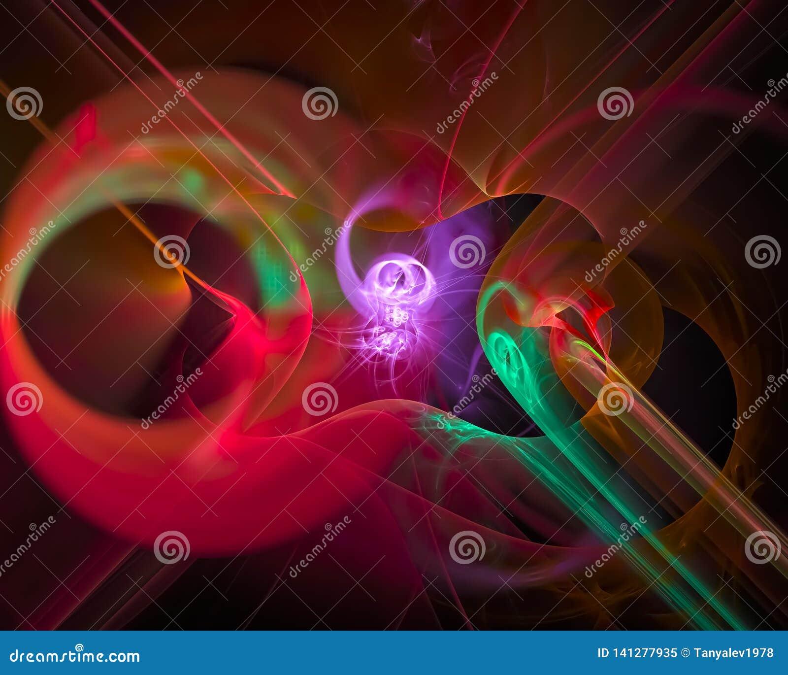 Fractale numérique abstraite, mouvement coloré futuriste de conception de modèle beau, remous, brillant