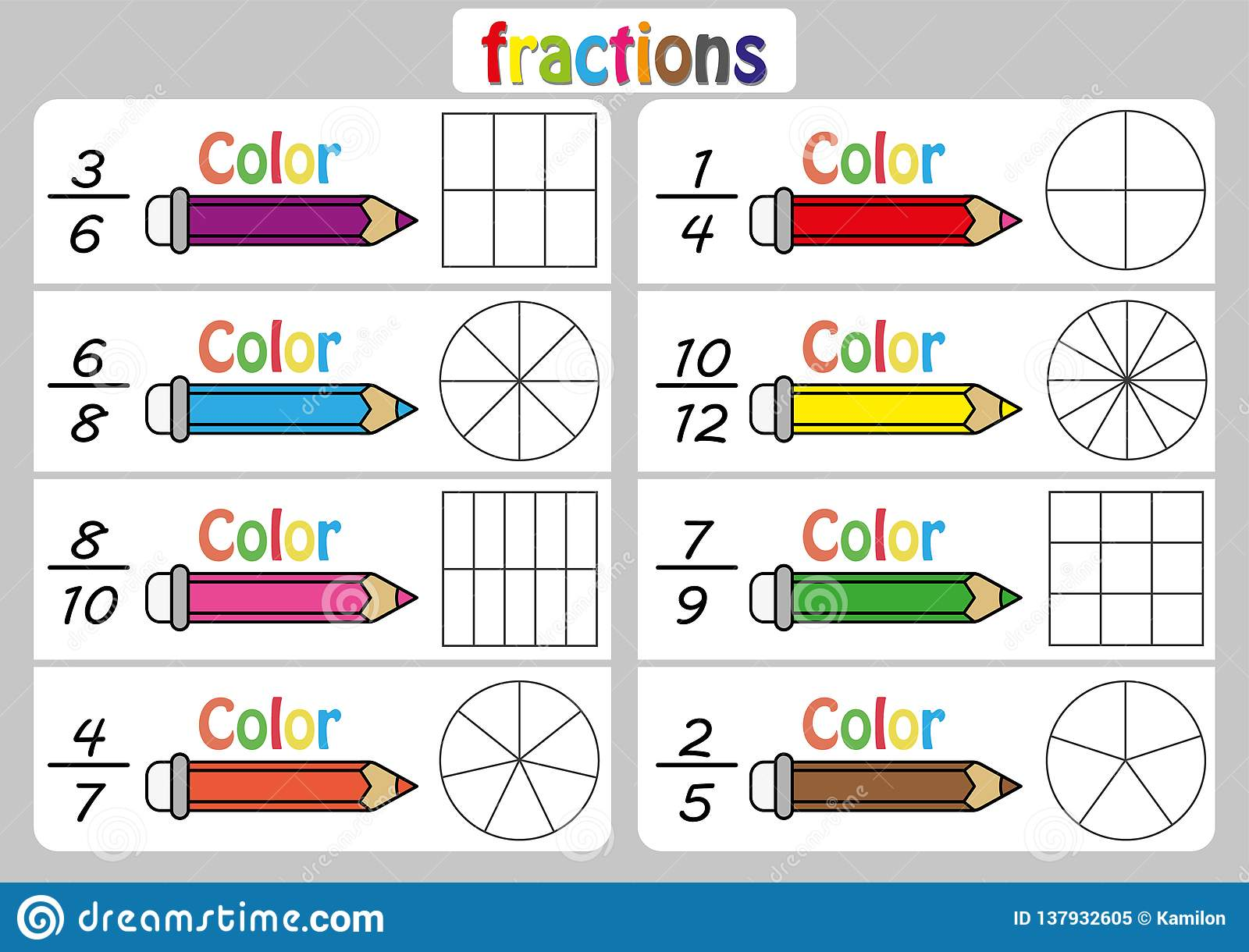 fractions worksheet fraction review fraction practice educational  fractions worksheet fraction review fraction practice educational  equivalent fractions math activity for kids