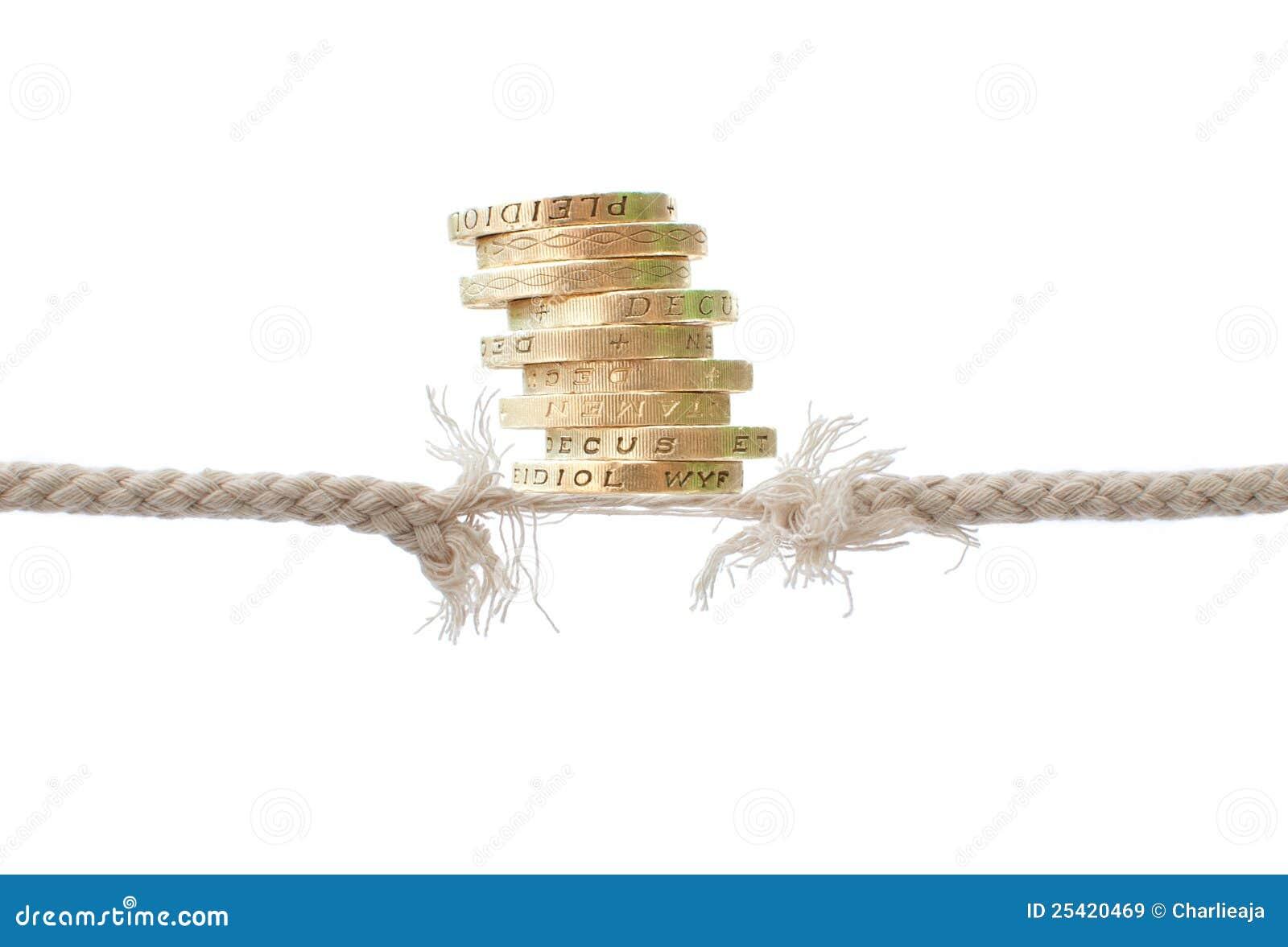 Fractura de la cuerda con las monedas