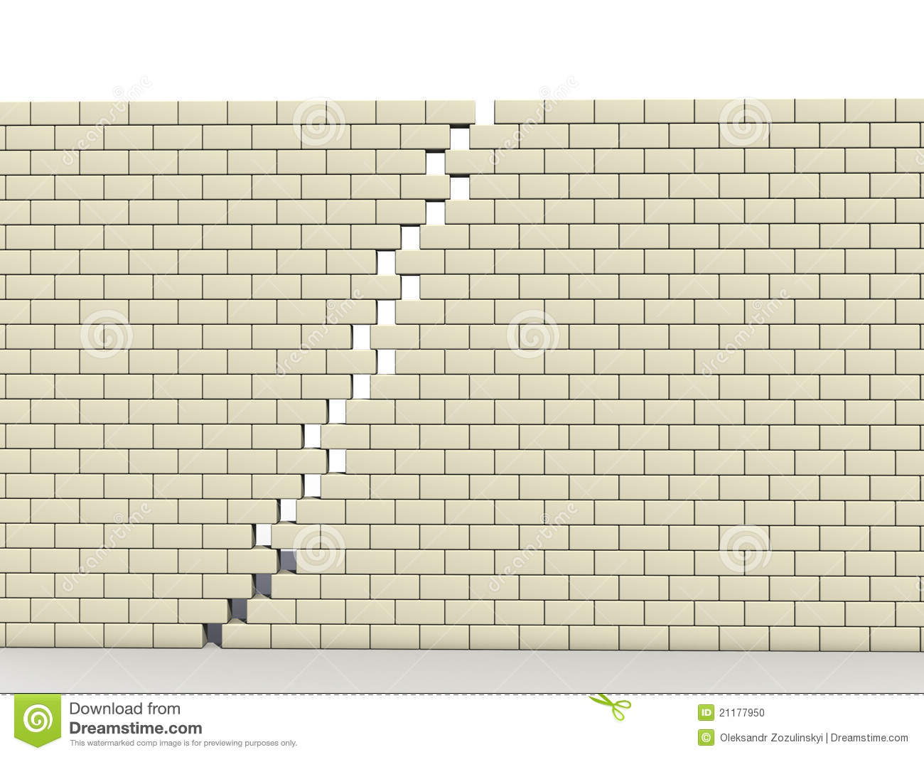 Fracture in wall of white blocks №1