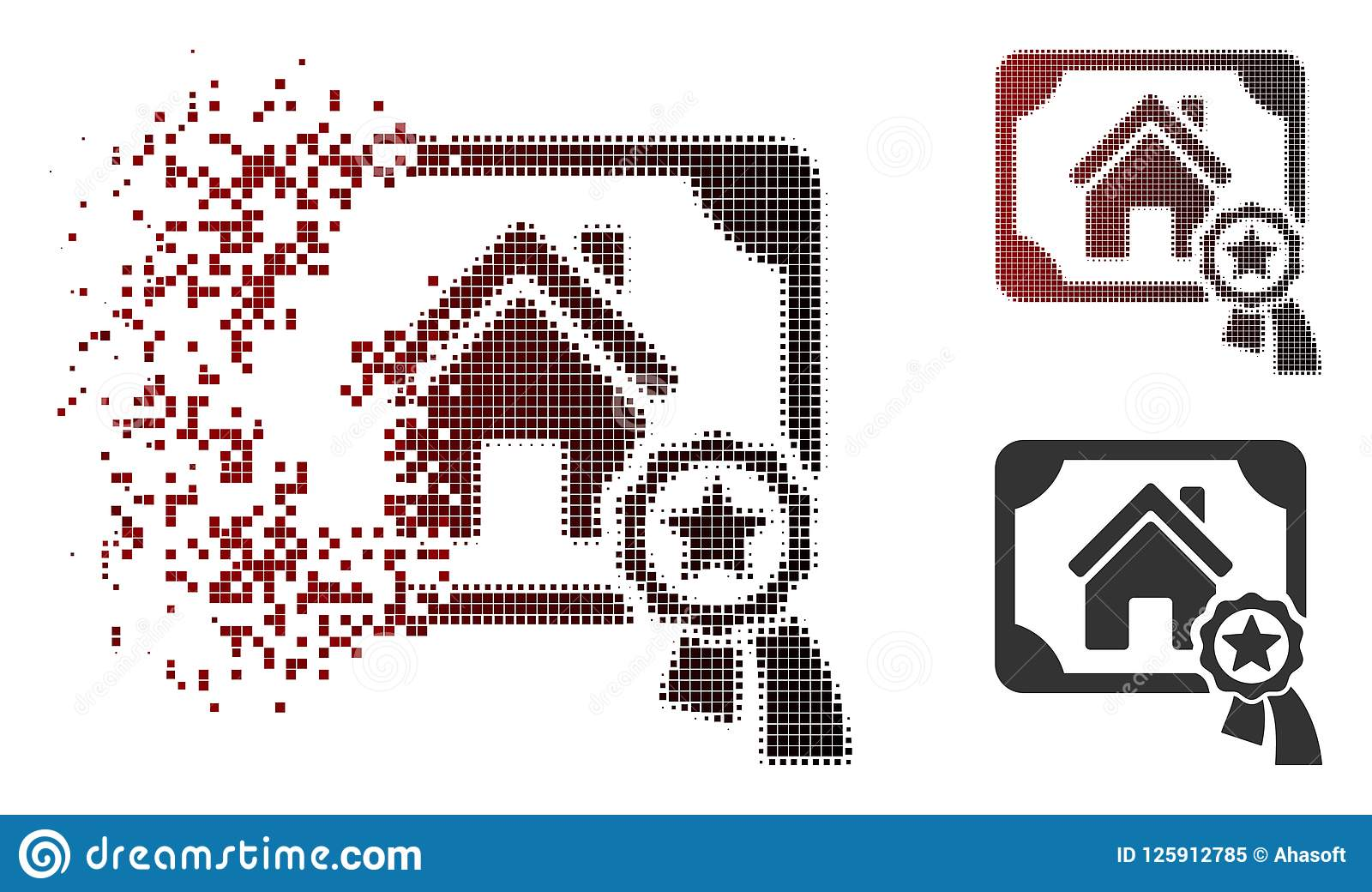 Fractured Dot Halftone Realty Certification Icon Stock Vector