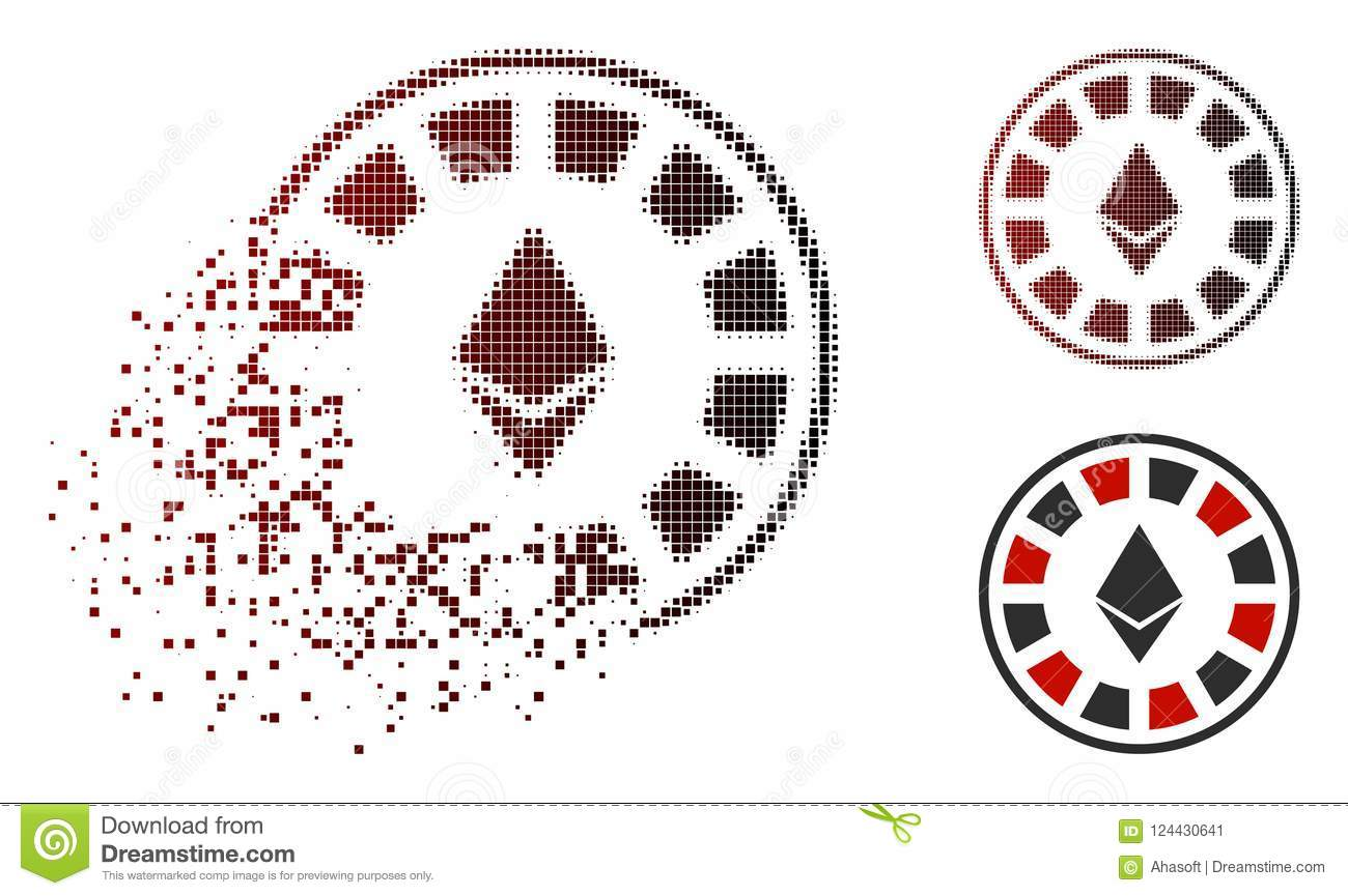 Fractured Dotted Halftone Ethereum Casino Roulette Icon