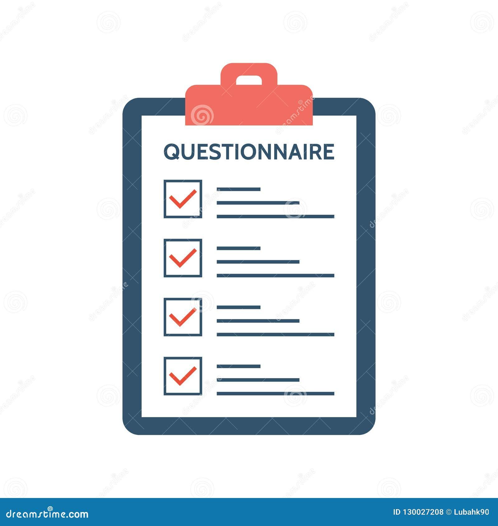 Fragebogen, Übersicht und Bericht über ein Klemmbrettpapier Feedback-Konzept Checkliste mit Zeckenkennzeichen in der flachen Art