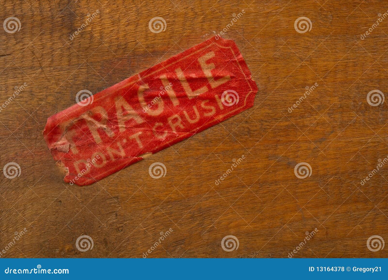 Fragile Label on Wood