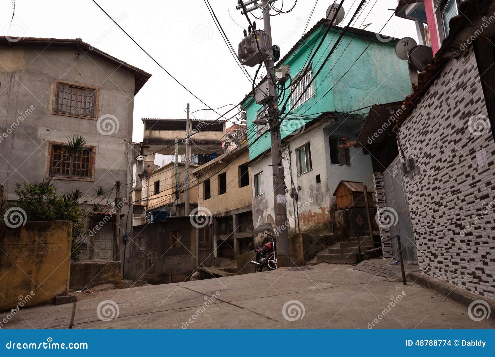 Fragile residential constructions of favela Vidigal in Rio de Janeiro