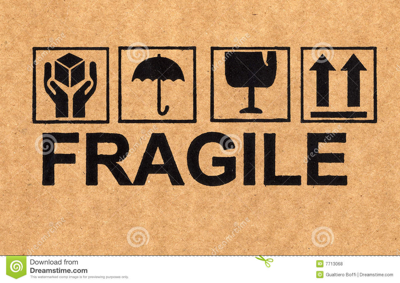 Fragile Symbol On Cardboard Royalty Free Stock Photos - Image: 7713068