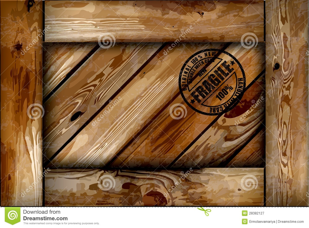 Fragile Wooden Box With Stamp Vector Background Stock