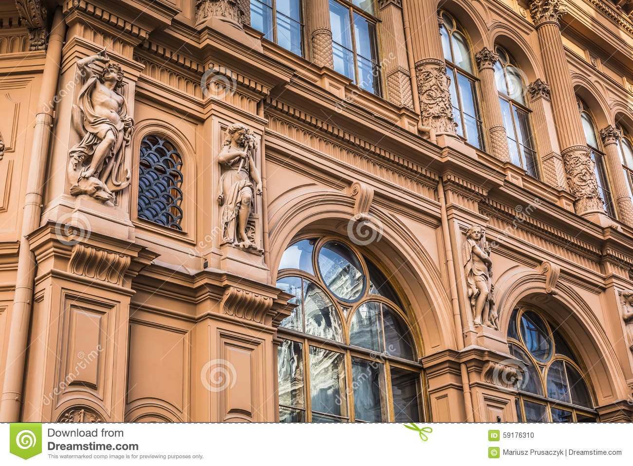 Fragment of art nouveau architecture style of riga city for Architecture art nouveau
