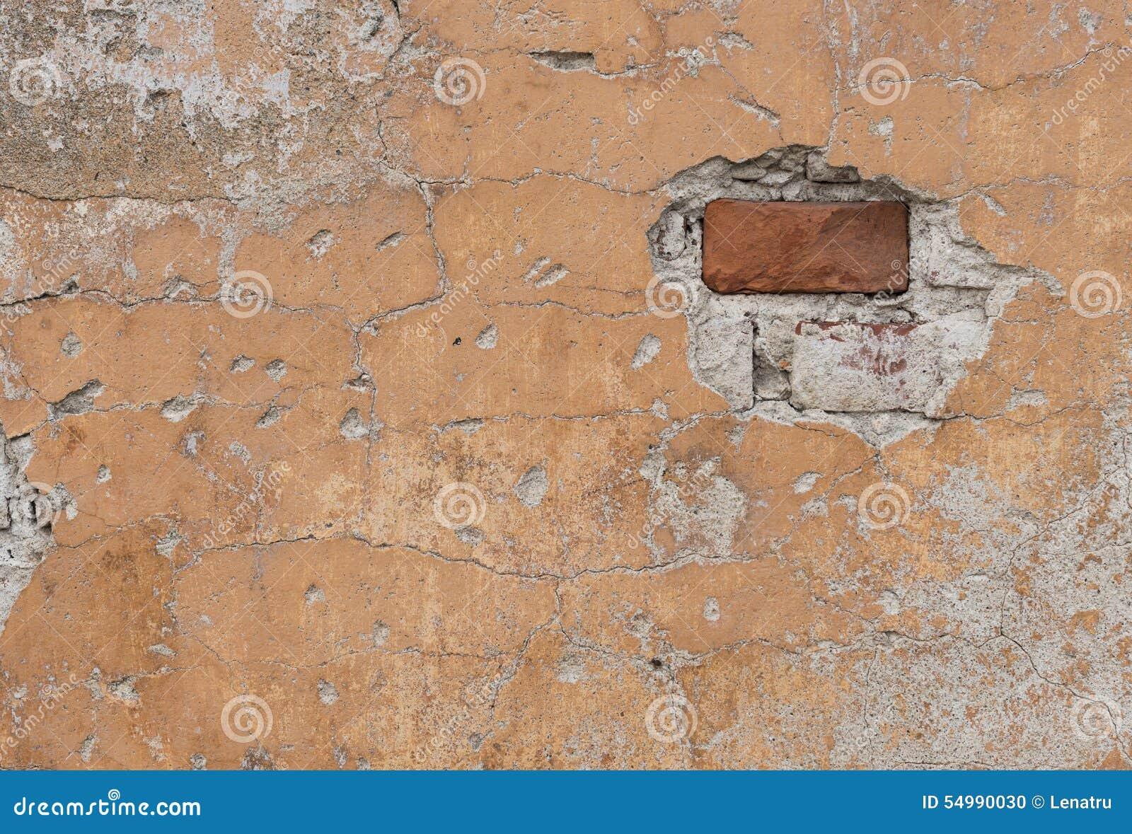 Fragment av den gamla red ut tegelstenväggen