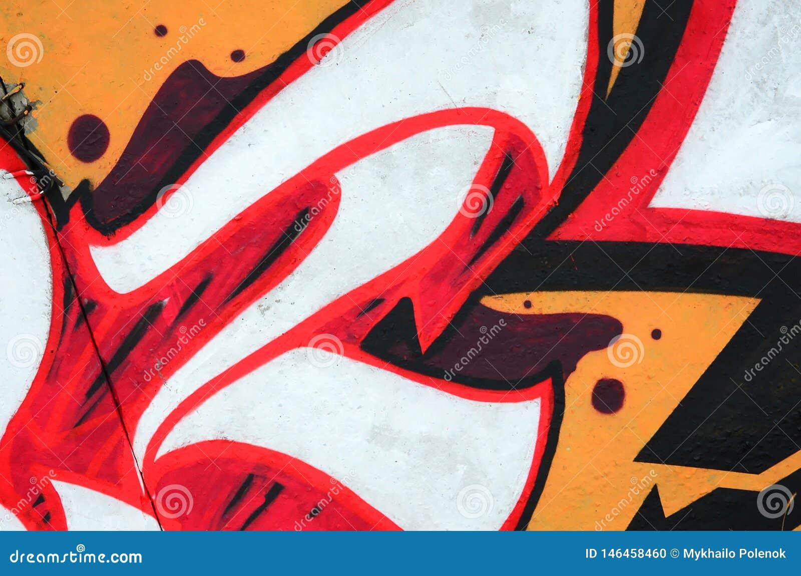 Fragment av kul?ra m?lningar f?r gatakonstgrafitti med konturer och upp skuggningsslut
