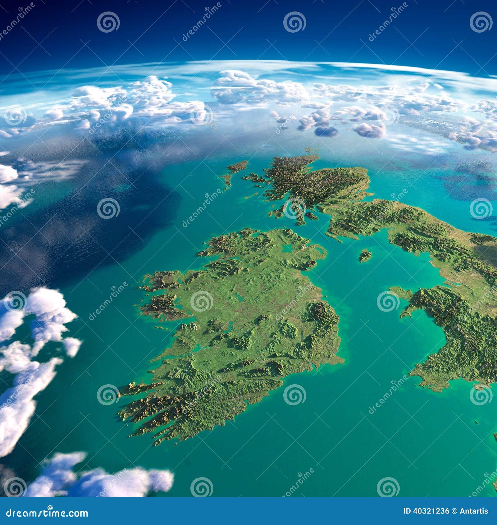 Fragment av planetjorden. Irland och UK