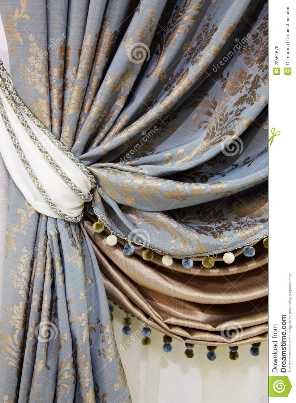 Fragment Of The Beautiful Curtains Royalty Free Stock Photos ...