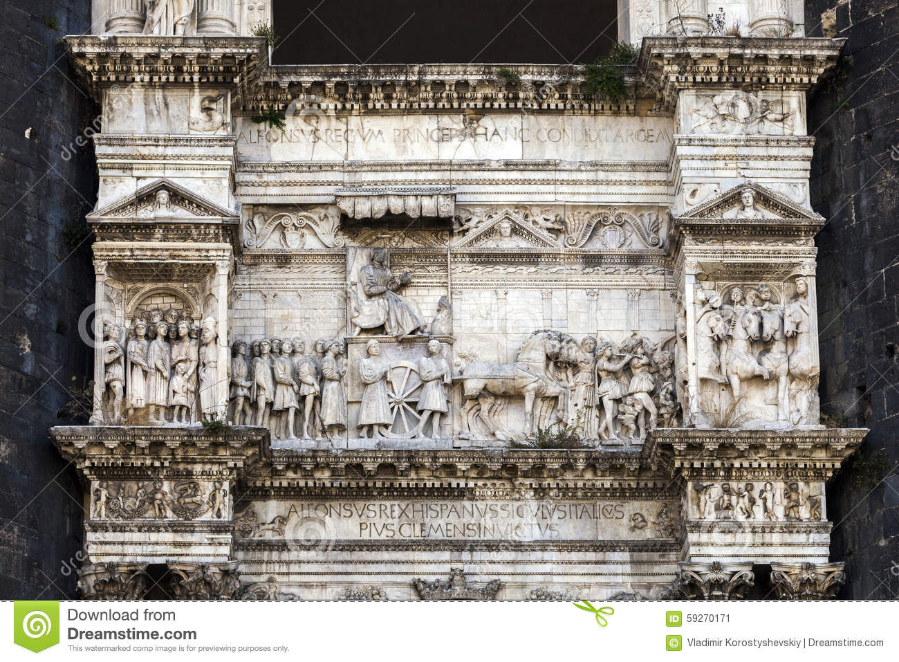Fragment Of Castel Nuovo S Triumphal Arch Stock Photo