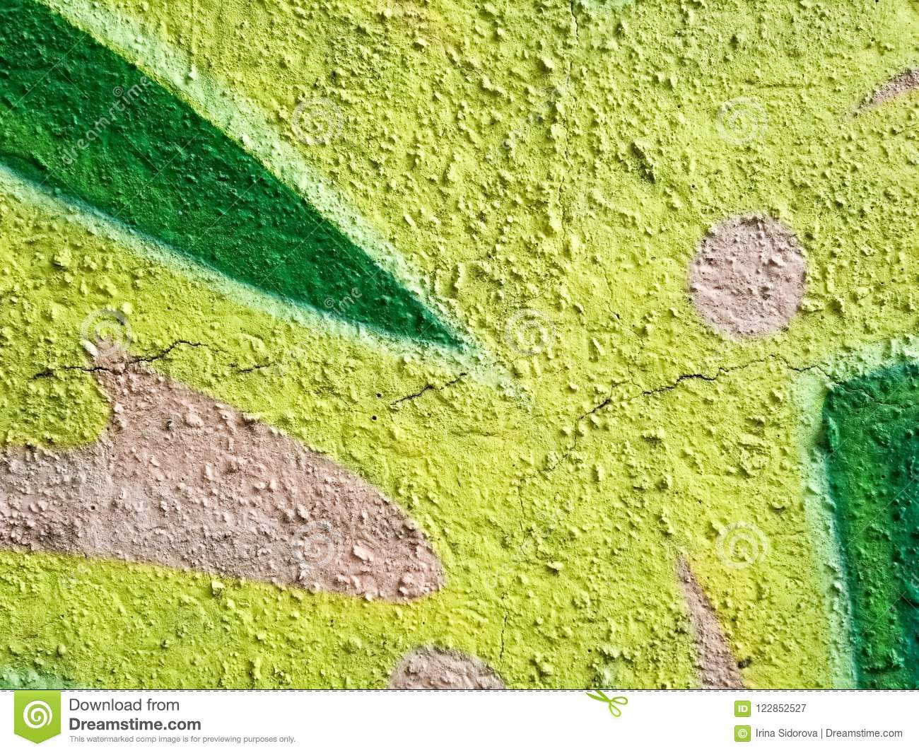 Fragment Of Colored Abstract Wall Paint In Blue And Green Colors ...