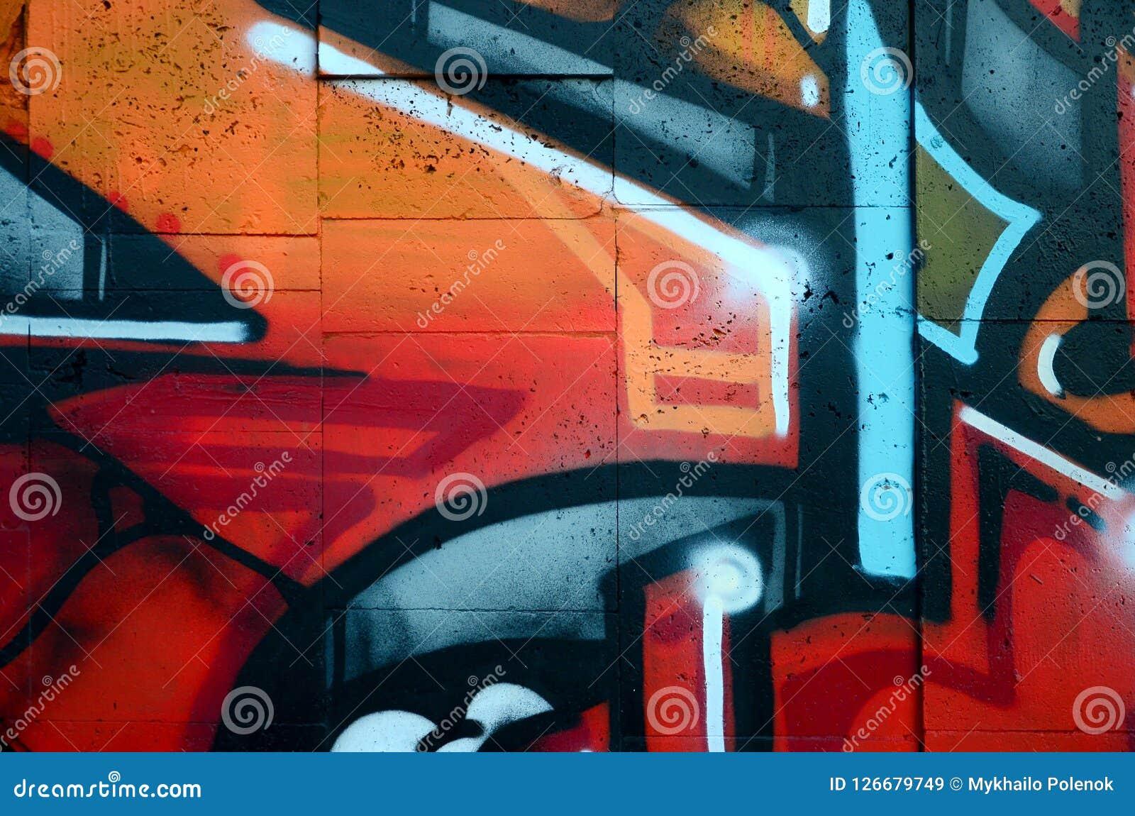 Fragment D Un Vieux Mur Avec La Peinture Colorée De Graffiti