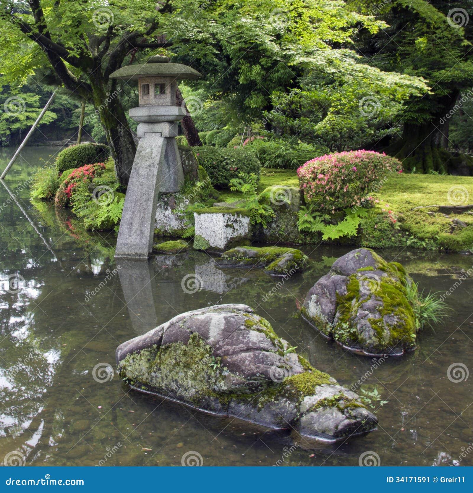 Fragment De Jardin Japonais Avec La Lanterne En Pierre Et