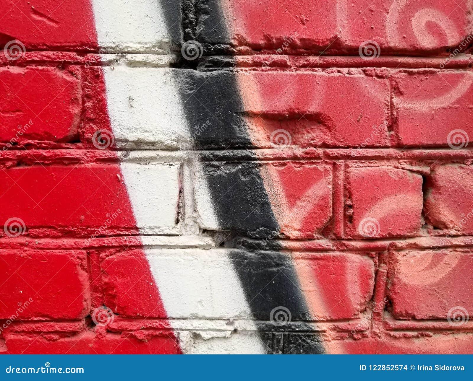 Fragment De Peinture Abstraite Colorée De Mur De Briques