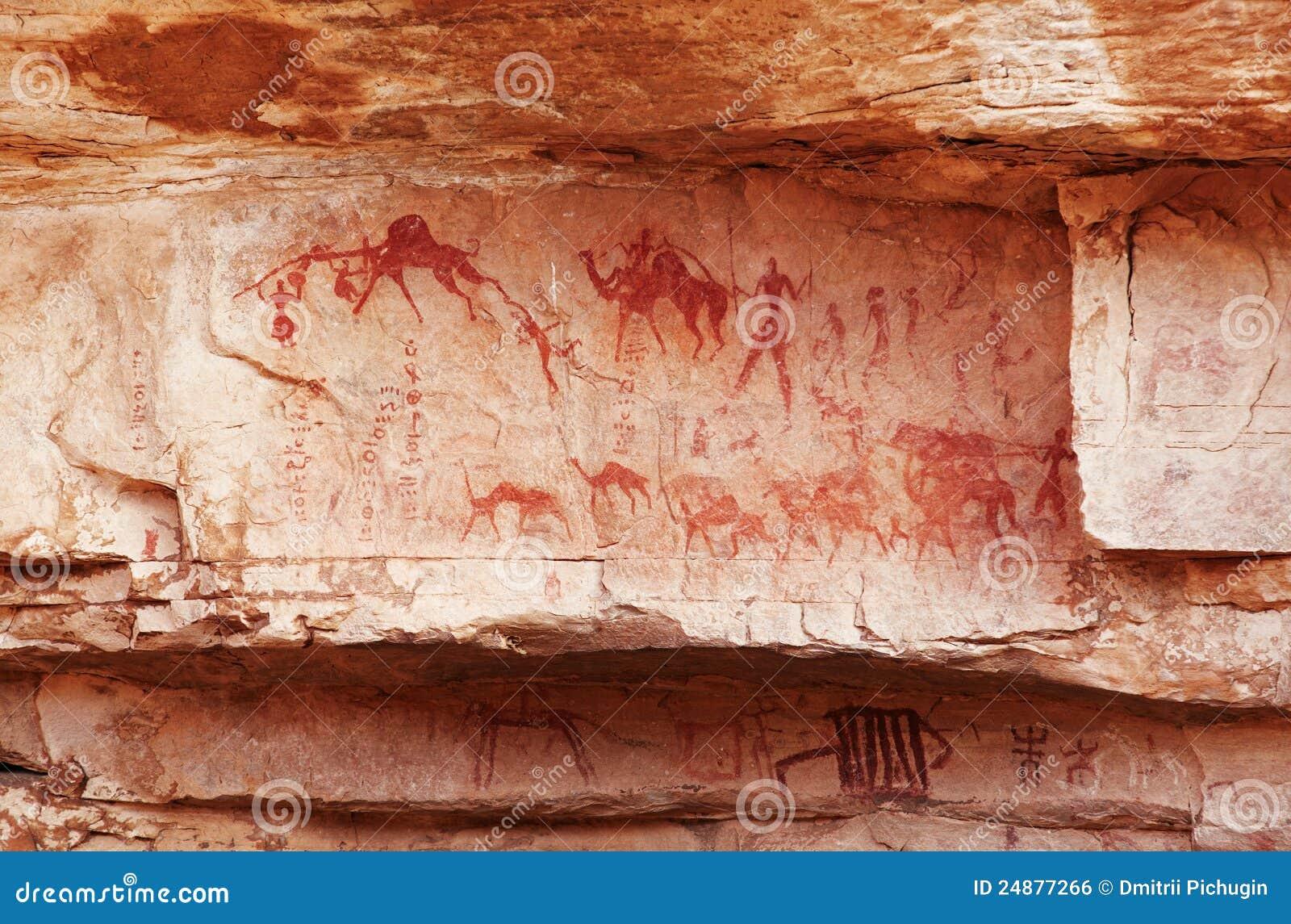 Fragment de roche avec les peintures antiques