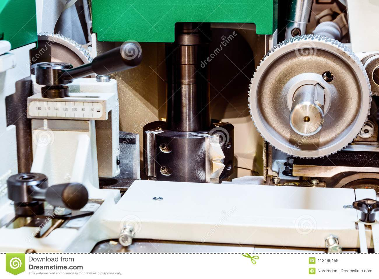 Fragment Of An Edge Banding Machine  Stock Image - Image of