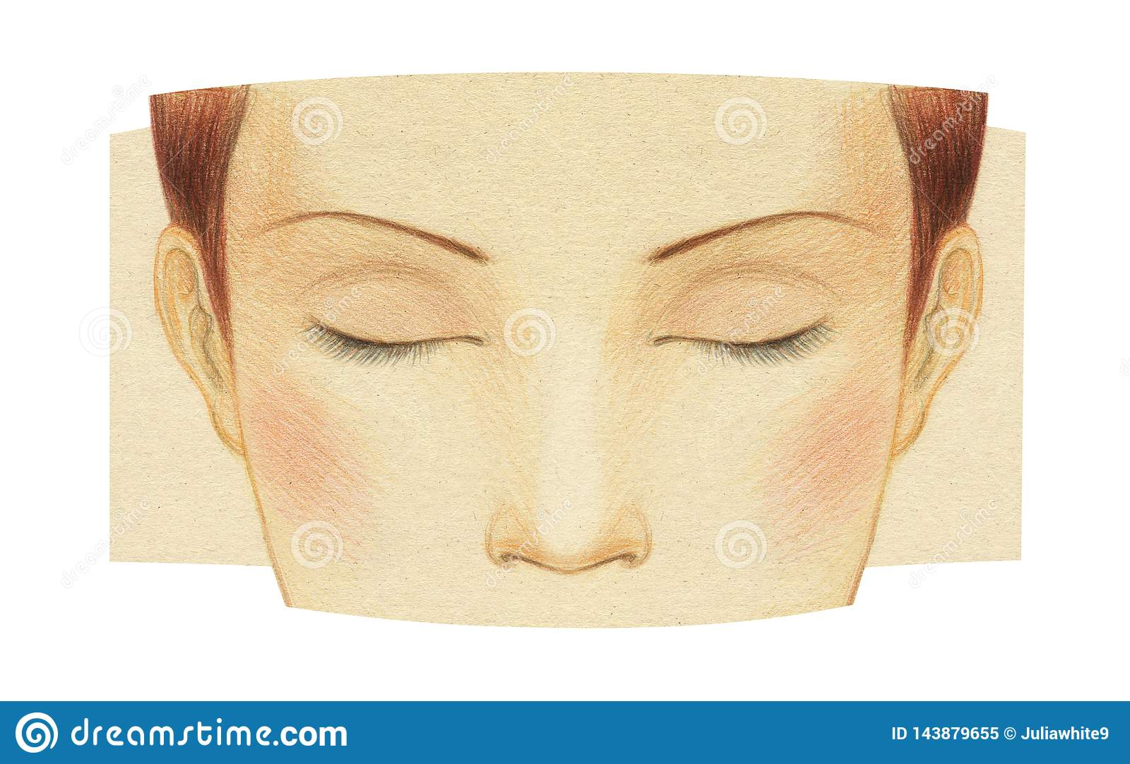 Fragment Of The Face Of A Young Girl With Closed Eyes Without Makeup Template For Make Up Graphic Drawing With Colored Pencils Stock Illustration Illustration Of Face Beauty 143879655