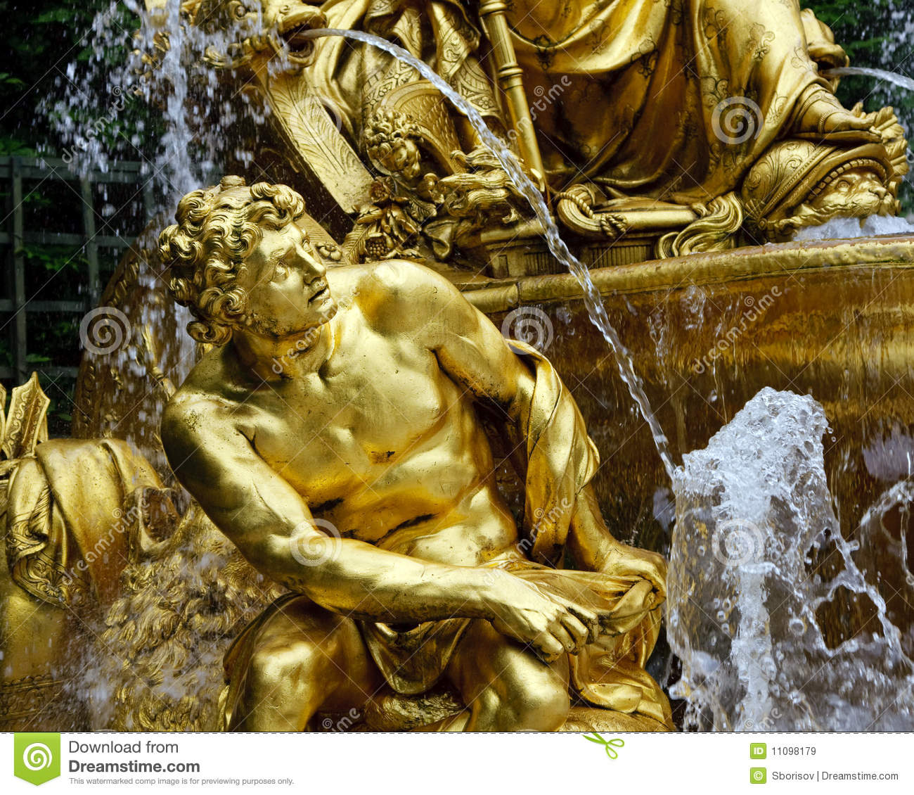 Fragment of fountain in park of Versailles