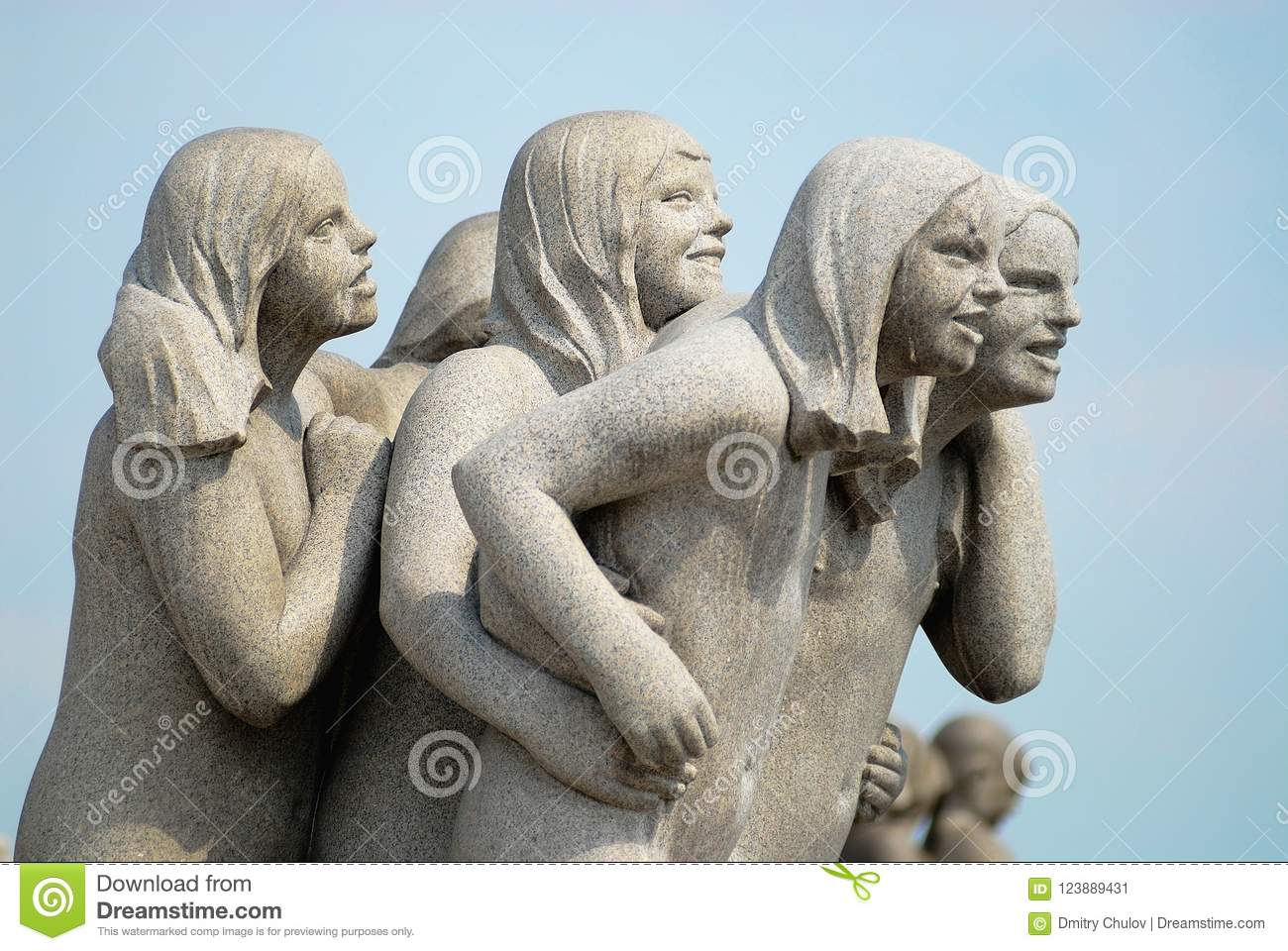 Fragment of the granite sculpture made by the famous artist Gustav Vigeland in open air Frogner park in Oslo, Norway.