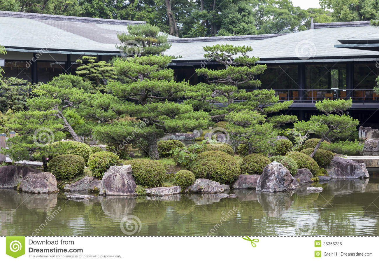 Beau Fragment Of A Japanese Garden With Artificially Shaped Pine Tree