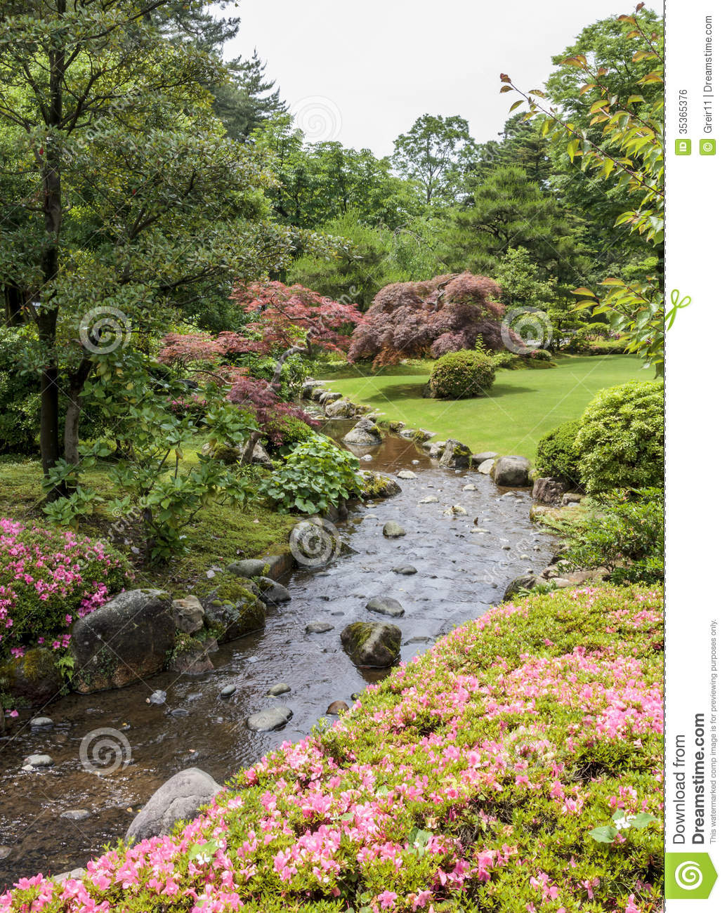 Fragment of a japanese garden with stream pink flowers for Flowers for japanese garden
