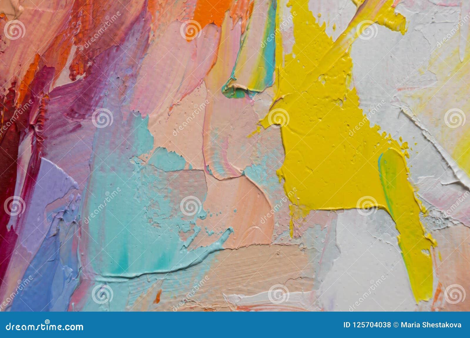 Fragment Mångfärgad texturmålning abstrakt konstbakgrund Olja på kanfas Grova penseldrag av målarfärg Closeup av en paintin