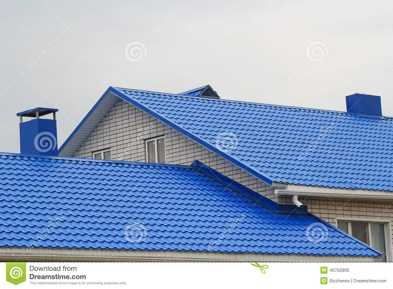 Fragment Of The Metal Blue Roof Stock Image Image 45752905
