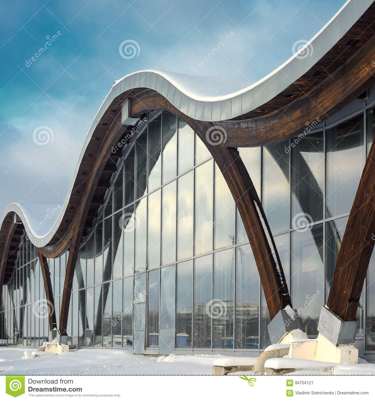 Fragment Of Modern Building With Structural Glass Wall Stock Image Image Of Circular Column 84704121