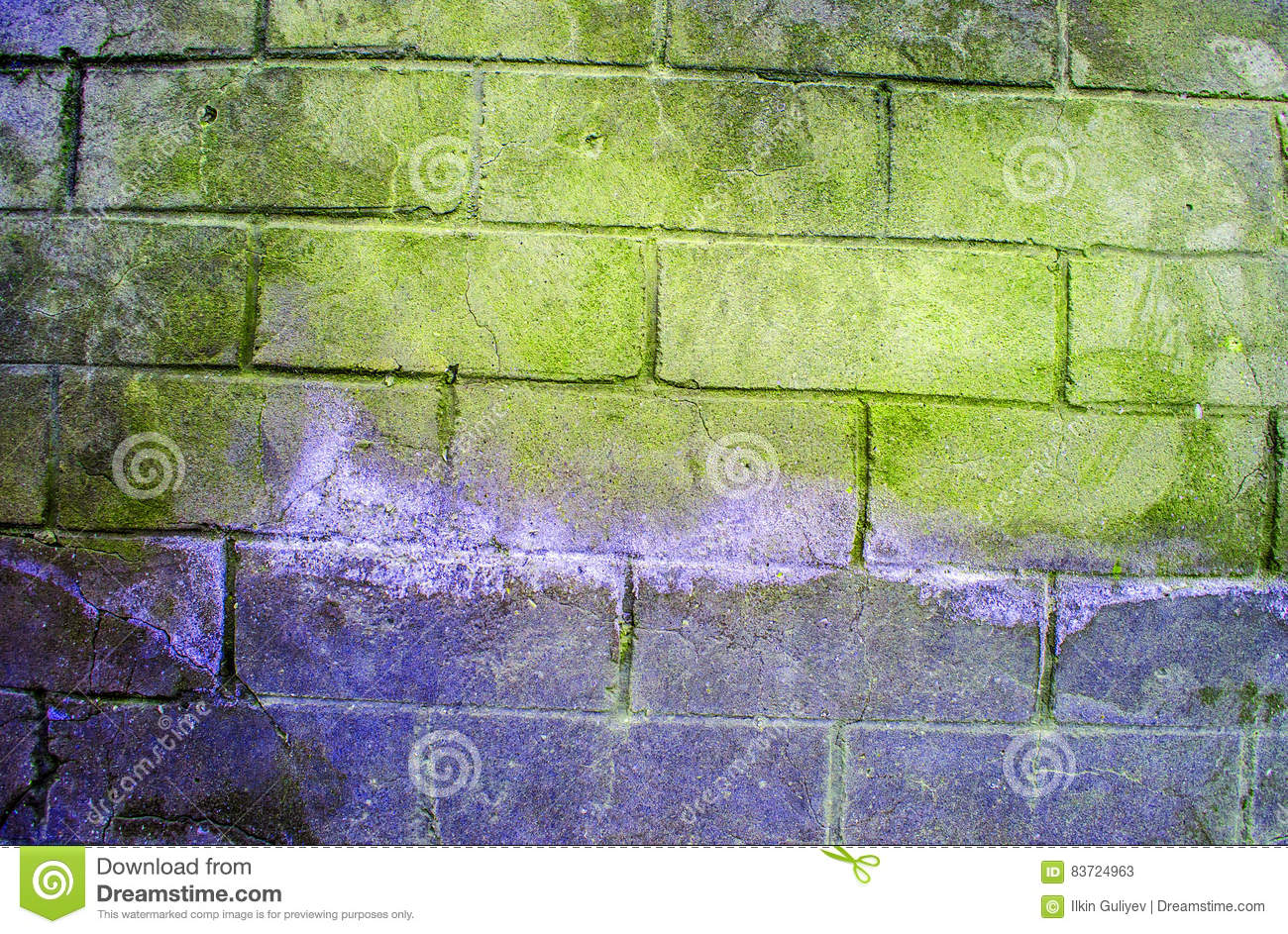 Old White Brick Wall With Green Peeling Plaster Cartoon