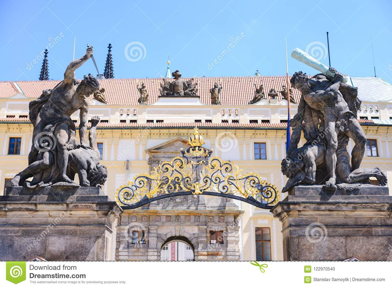 Fragment of the Prague castle Located in the Hradcany district is the official residence and office of the President of the Czech