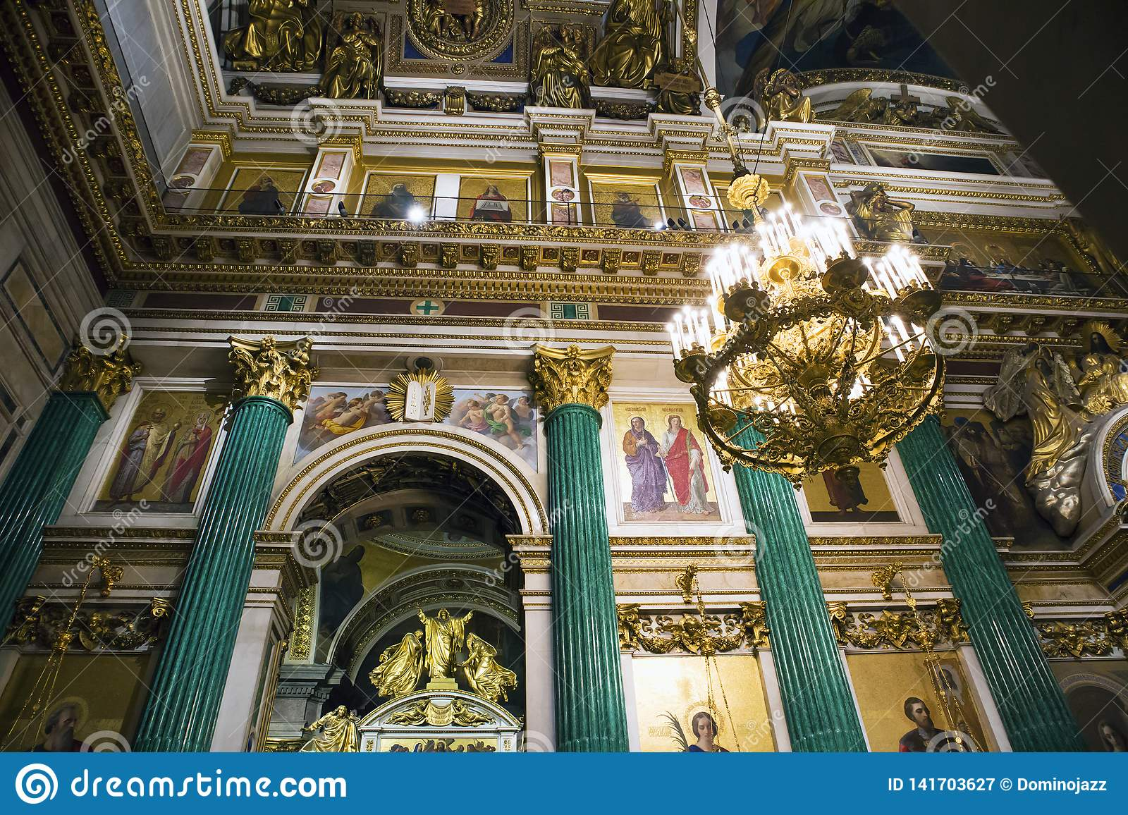 Fragment of rich decorated interior of ancient Saint Isaac`s orthodox cathedral