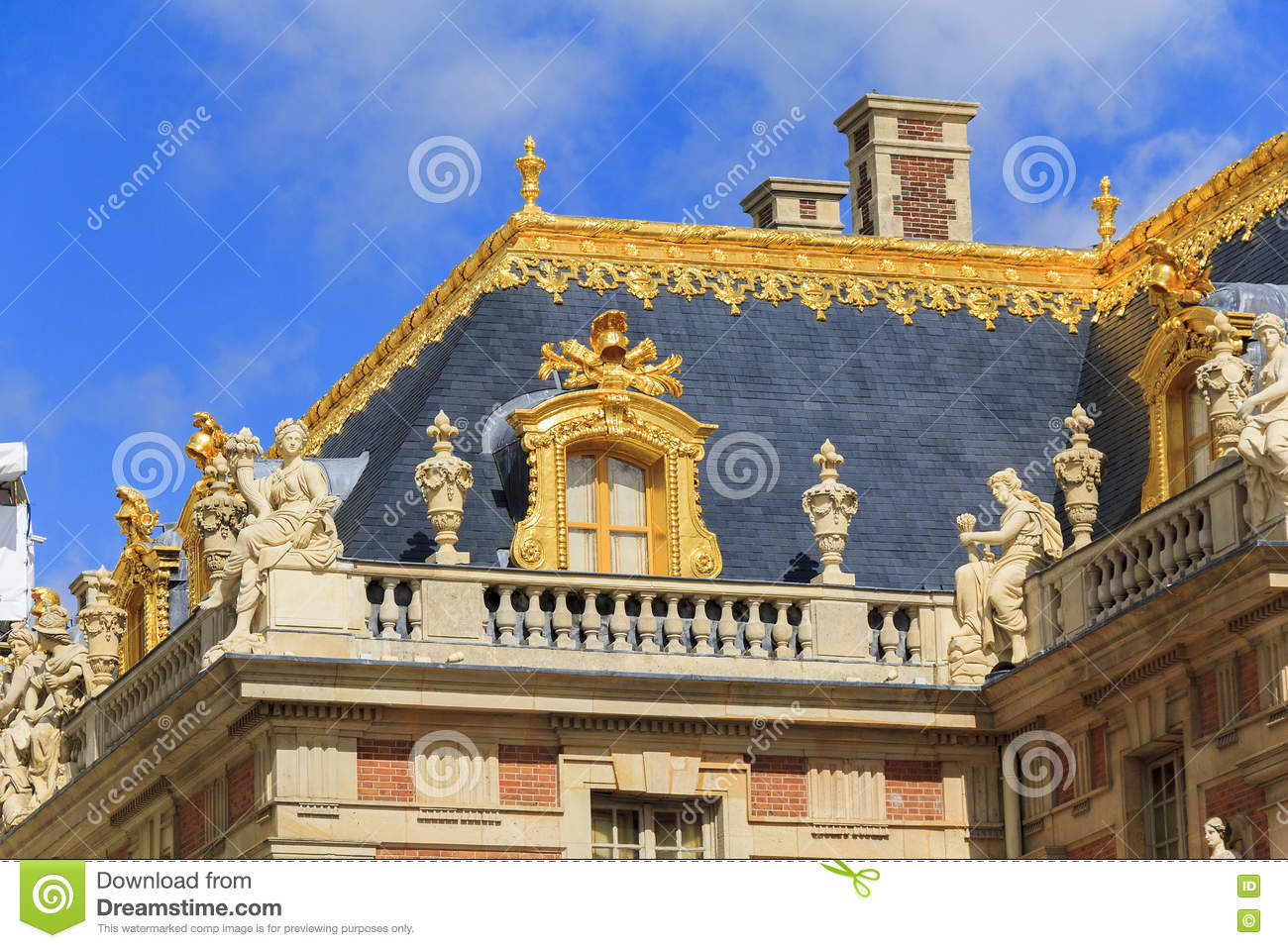 fragment of the roof of palace of versailles editorial stock photo image 72136473. Black Bedroom Furniture Sets. Home Design Ideas