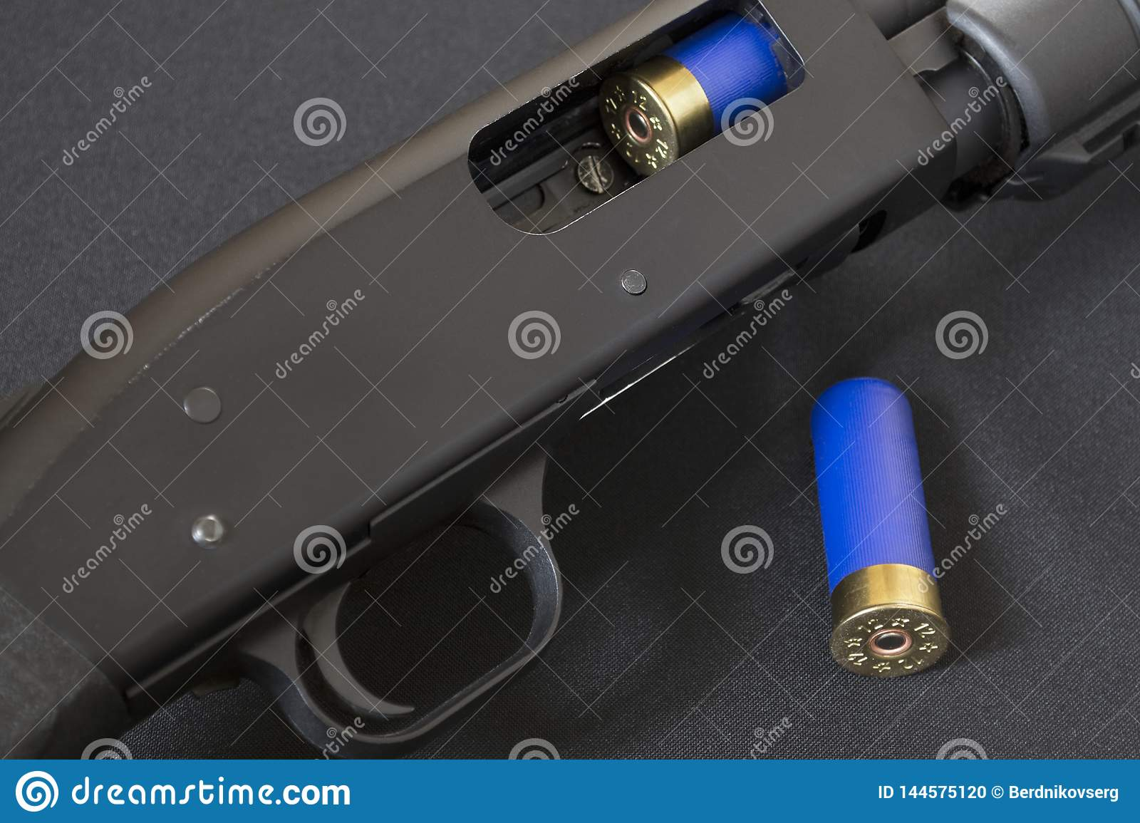 Trigger And Open Bolt Pump Action Shotgun Stock Photo Image Of Gaten Shotgun 144575120